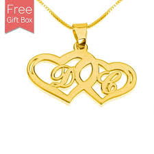 24k gold plated initials in two hearts shape necklace