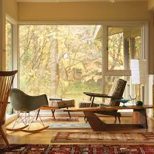 mid century modern window treatments Living Room Midcentury with area rug  corner windows. Image by: Johnson Berman