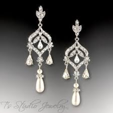 long teardrop pearl chandelier bridal earrings silver and crystal earings with white ivory or champagne