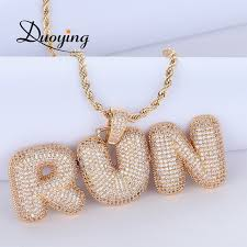 duoying custom name bubble letters chain pendants necklaces men s zircon hip hop jewelry with 4mm tennis