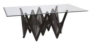 curving black wooden base with zigzag shape plus rectangle glass top