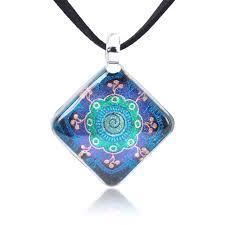 hand blown glass jewelry magic mandala symbol square pendant necklace 17 19 inches
