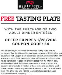 Red Lobster Coupons Free Tasting Plate With Your Entrees At Red