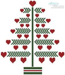 Christmas Tree Cross Stitch Chart Heart Christmas Tree Printed Cross Stitch Chart