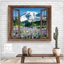 mountain canvas wall art wildflower