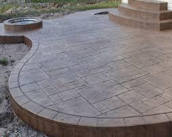 stamped concrete patio. Yorkstone With Border - Thyme/Nutmeg Stamped Concrete Patio