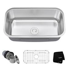 kraus 31 inch undermount single bowl 16 gauge stainless steel kitchen sink with noisedefend 8482