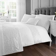 eleanor james glitz super king duvet cover set white