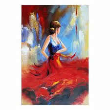 flying skirt modern artwork abstract dancing people oil paintings on canvas wall art for home decoration