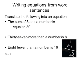 writing equations from word sentences