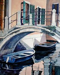 ine huff painting venetian bridge