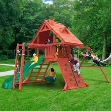 playset rock wall gorilla sun palace ii cedar swing set diy rock climbing wall for playset