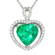 view halo style heart shape emerald and diamond pendant set in 18k white gold