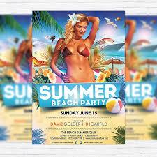 Beach Flyer Summer Beach Party Premium Flyer Template Facebook Cover