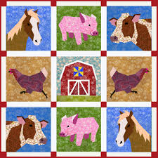 Farm quilt pattern Set of 5 paper pieced quilt blocks & 🔎zoom Adamdwight.com