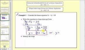 introduction to general standard form of a linear equation l11 4a