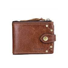 vintage crazy horse leather rivets decorative short tri fold leather men s wallet brown