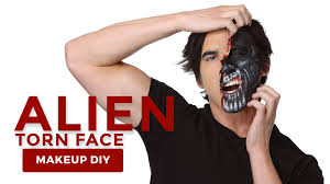 alien makeup tutorial with torn face effects