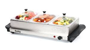 electric buffet server hot plate food warmer tray stainless steel elite platinum triple