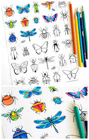 Small Picture Bugs Butterflies Coloring Page Dabbles Babbles