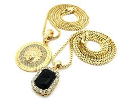 details about gold medusa square ruby pendant charm chain necklace jewelry n0085m