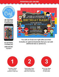 Personalized Superhero Birthday Invitations Superhero Birthday Invitation Personalized Superhero Invitation