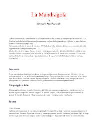 La mandragola - Docsity