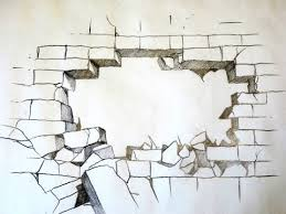 how to draw a broken brick wall the