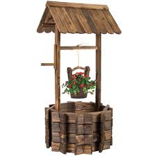 Wooden Wishing Well Bucket Flower Planter Patio Garden Outdoor Home Decor -  Walmart.com