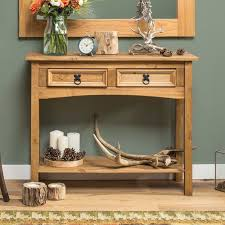 wooden console table pine wood 2 drawer
