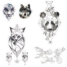 маленькая кошка черная тату паста геометрическая панда темпирная