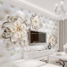 Small Picture Custom 3D Wallpaper for Walls Crystal Pearl Flowers Wallpaper