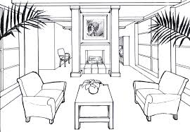Living room design drawing  http://duffydey.com/images/Drawings /Perspective_Drawings/OnePoint_Room_Ink.