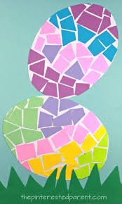 easy easter crafts for two year olds. construction paper mosaic easter eggs - great cutting activity for practicing scissor skills, spring and easy crafts two year olds b