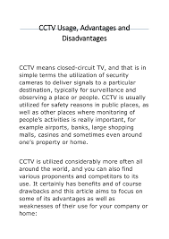 cctv usage advantages and disadvantages cctv usage advantages and disadvantages cctv means closed circuit tv