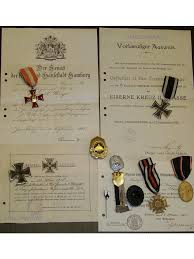 ww iron cross set ek hindenburg military medal diploma   ww1 hanseatic hamburg iron cross infantry nco set ek1 military medals 1914 1918 diploma german