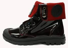 palladium boot womans baggy leather knit midnight red