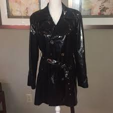 michael kors black patent leather trench coat m 5a58cbbdb7f72b1d08a0f235