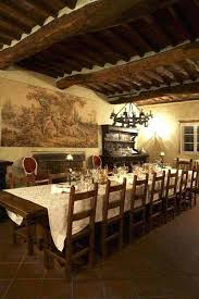 tuscan style chandelier style dining room with wooden ceiling beams and wall art and chandelier and
