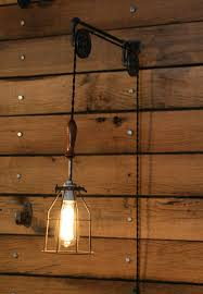 plug in industrial lighting. Pulley Wall Mount With Industrial Cage Light And Wooden Handle - Pendant By Rewind Amazon.com Plug In Lighting I