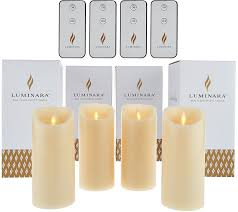 com luminara 6 flameless unscented candles with 4 remotes set of four green home improvement