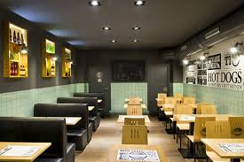 Fresh Green Ceramic Tiled Wall With Black Leather Sofa For Enticing Fast  Food Restaurant Design Ideas Using Grey Ceiling Color