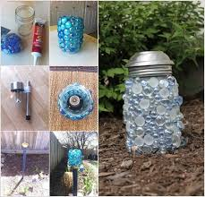 glue glass gems to a mason jar add a solar light and voila