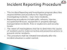 what is an incident report incident reporting procedure ppt video online download