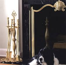 fireplace tools with fireplace screen and solid brass andirons