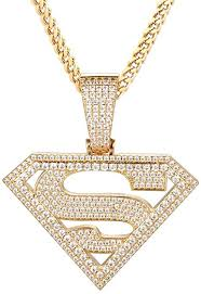 Star cuban tennis iced out ring 2 row tennis (white gold) regular price €49,00. Gold Idea Jewelry Iced Out Cubic Zirconia Superman Pendant 14k Gold Plated White Gold Plated Necklace Pendant With 28 Stainless Steel Franco Chain Necklaces For Men And Boy 14k Gold Plated