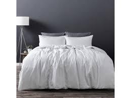 dreamaker luxury soft 100 washed cotton linen quilt duvet cover bedding set w pillowcase