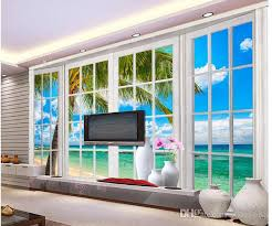 Small Picture Home Decor Living Room Natural Art Windows 3d Sea View Mural
