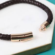 mens leather bracelet with rose gold clasp photos