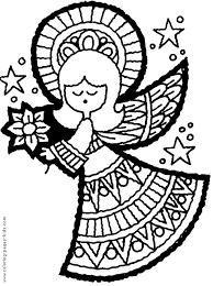 Small Picture Christmas Angel with a flower color page Christmas coloring pages